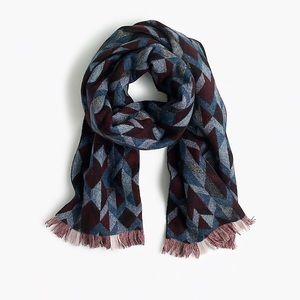 J. Crew large woven geometric 100% wool scarf